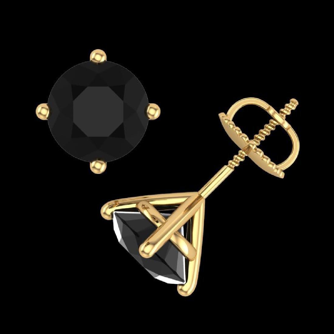3.01 CTW Fancy Black Diamond Solitaire Art Deco Stud - 3