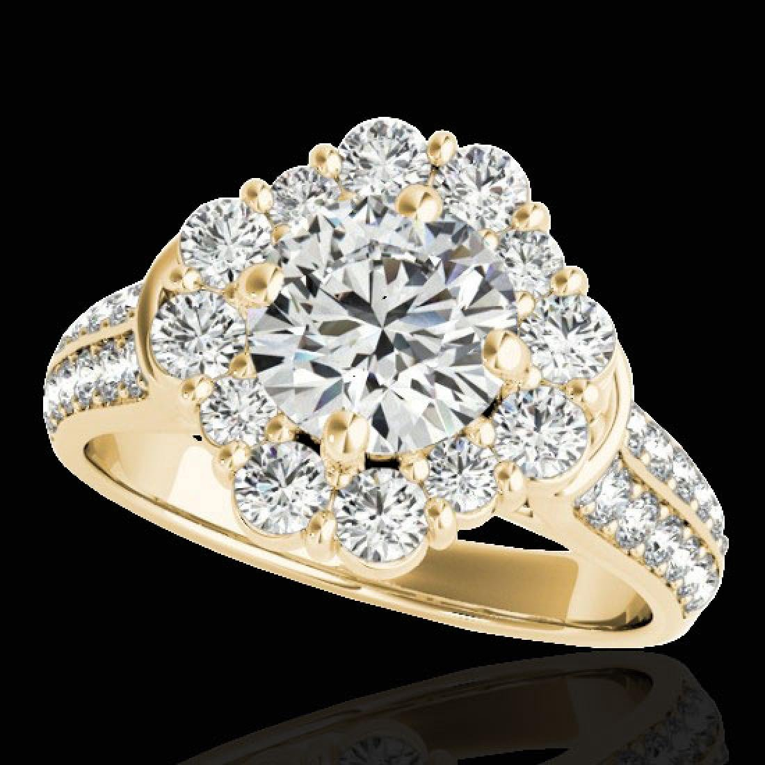 2.81 CTW H-SI/I Certified Diamond Solitaire Halo Ring