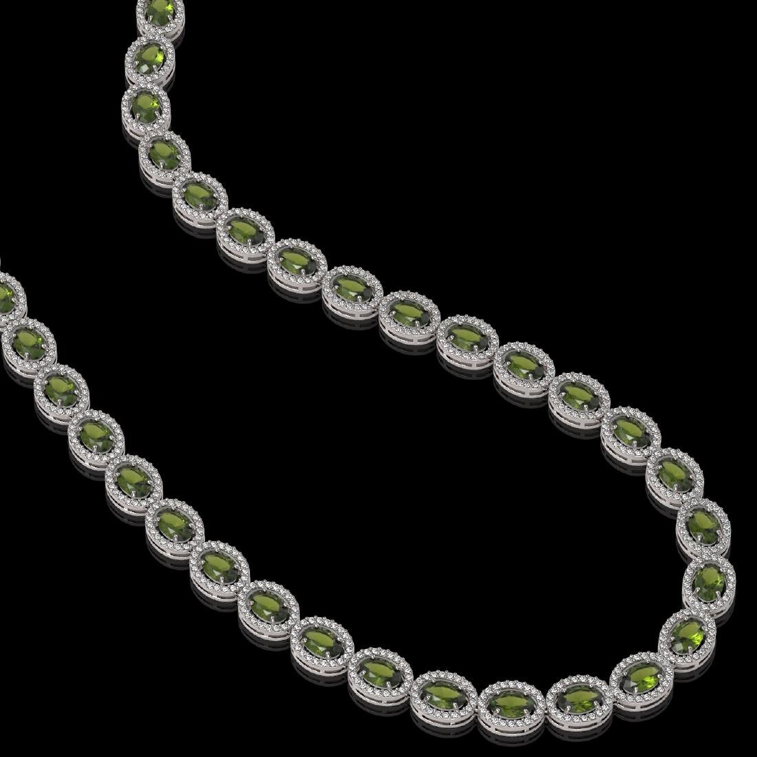 31.1 CTW Tourmaline & Diamond Halo Necklace 10K White - 2