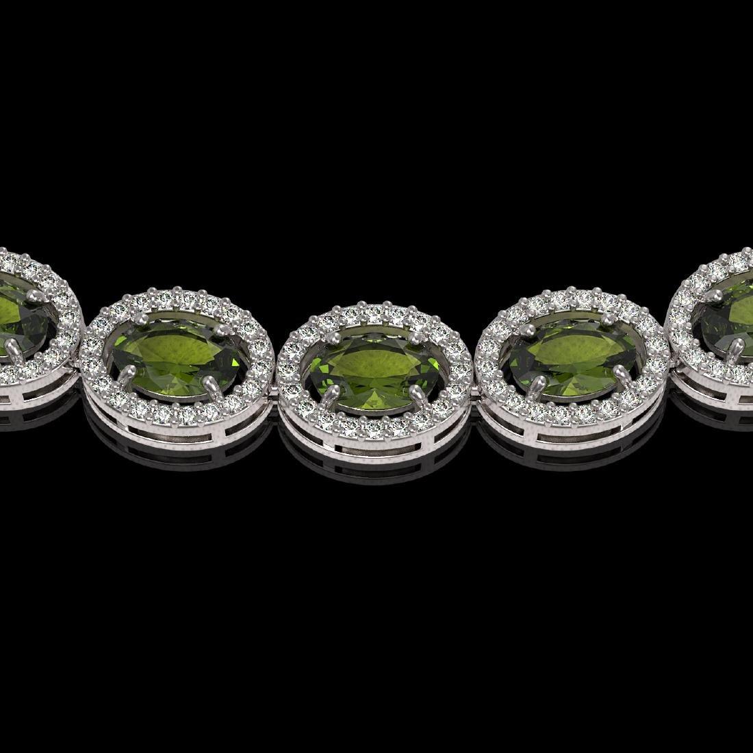 31.1 CTW Tourmaline & Diamond Halo Necklace 10K White - 3