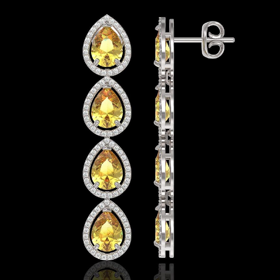 9.2 CTW Fancy Citrine & Diamond Halo Earrings 10K White - 2