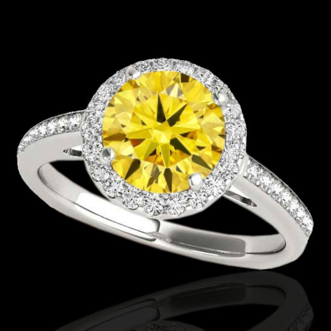 1.3 CTW Certified Si Fancy Intense Diamond Solitaire
