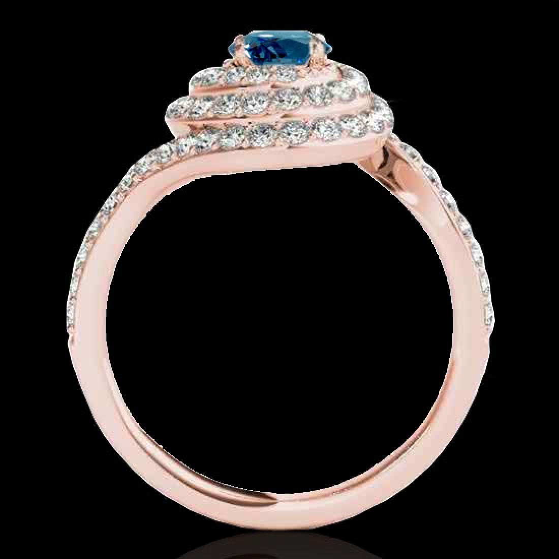 1.86 CTW SI Certified Fancy Blue Diamond Solitaire Halo - 2
