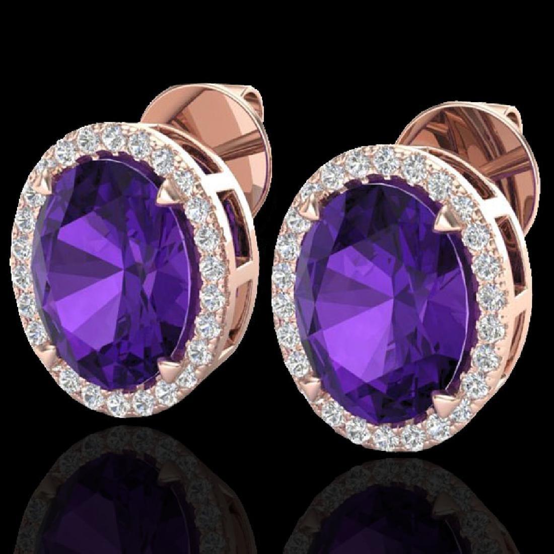 5.50 CTW Amethyst & Micro VS/SI Diamond Halo Earrings