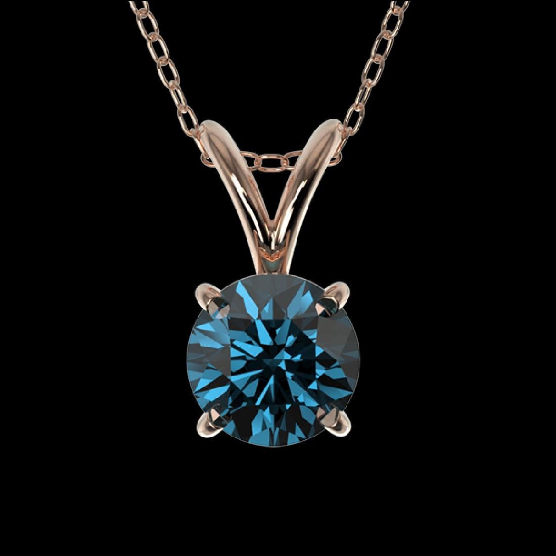 0.53 CTW Certified Intense Blue SI Diamond Solitaire
