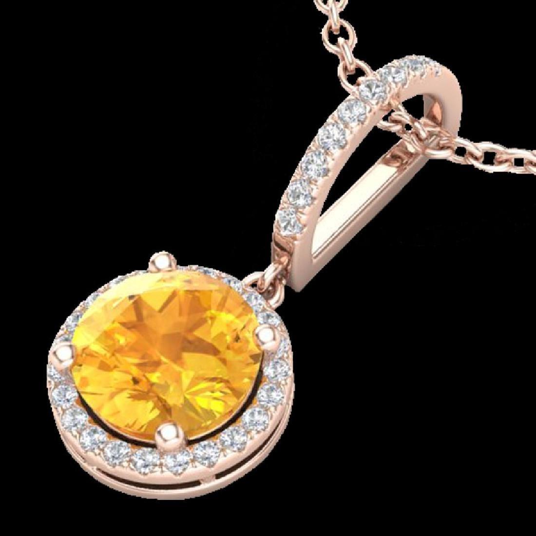 2 CTW Citrine & Micro Pave VS/SI Diamond Necklace