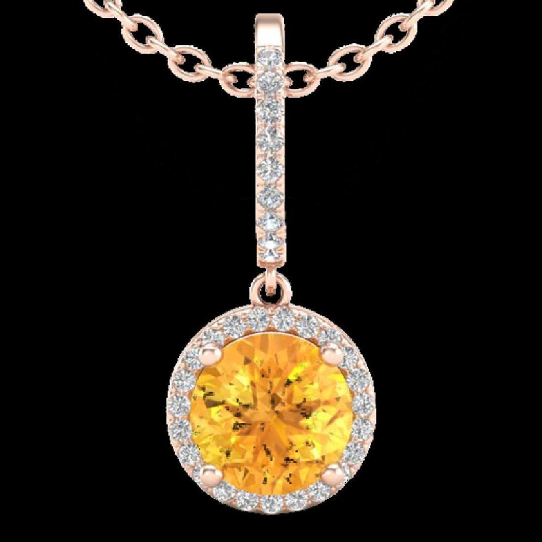 2 CTW Citrine & Micro Pave VS/SI Diamond Necklace - 2