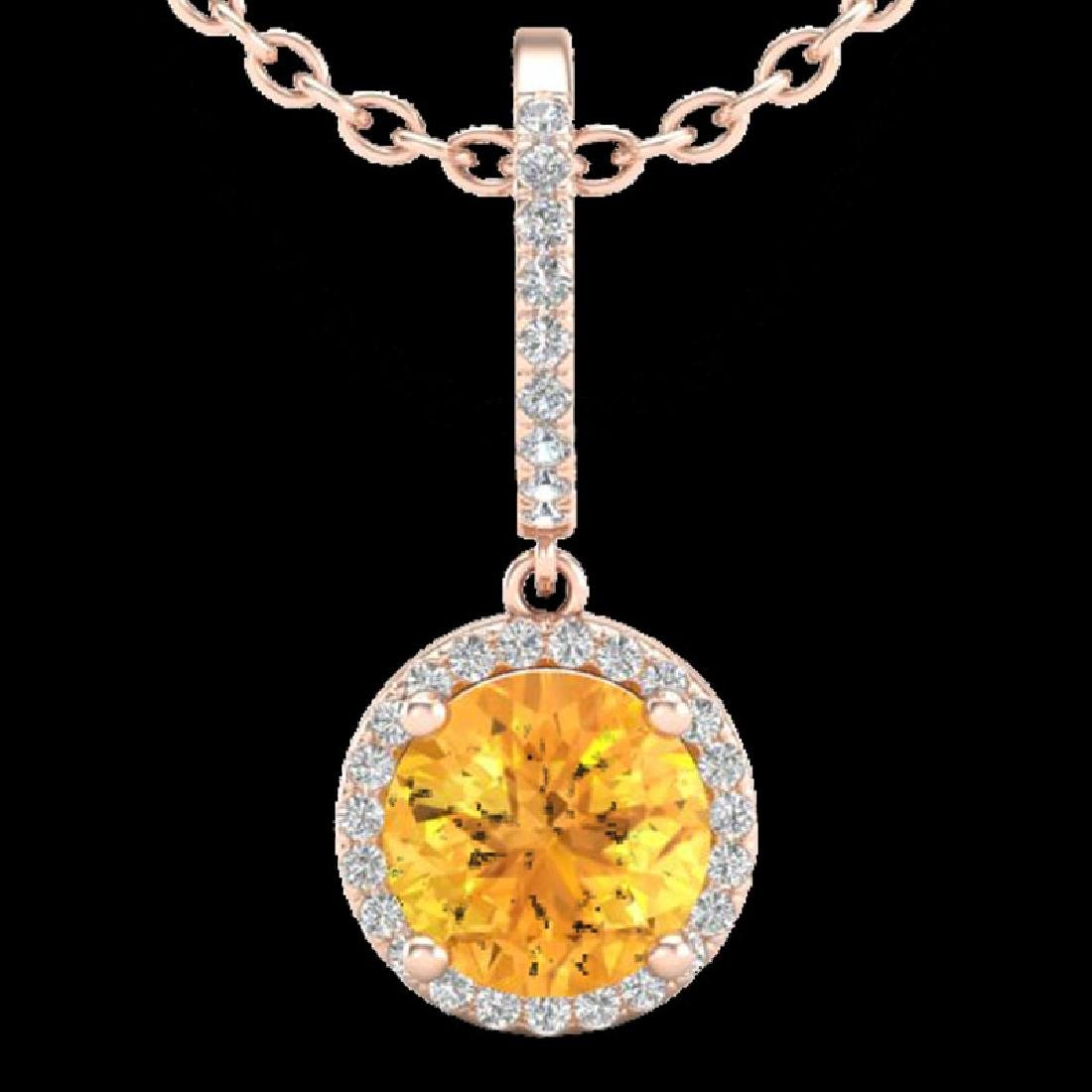 2 CTW Citrine & Micro Pave VS/SI Diamond Necklace - 2