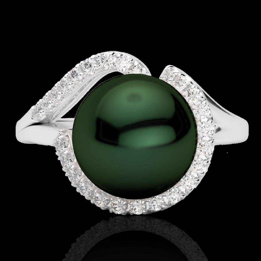 0.27 CTW VS/SI Diamond & Peacock Pearl Designer Ring