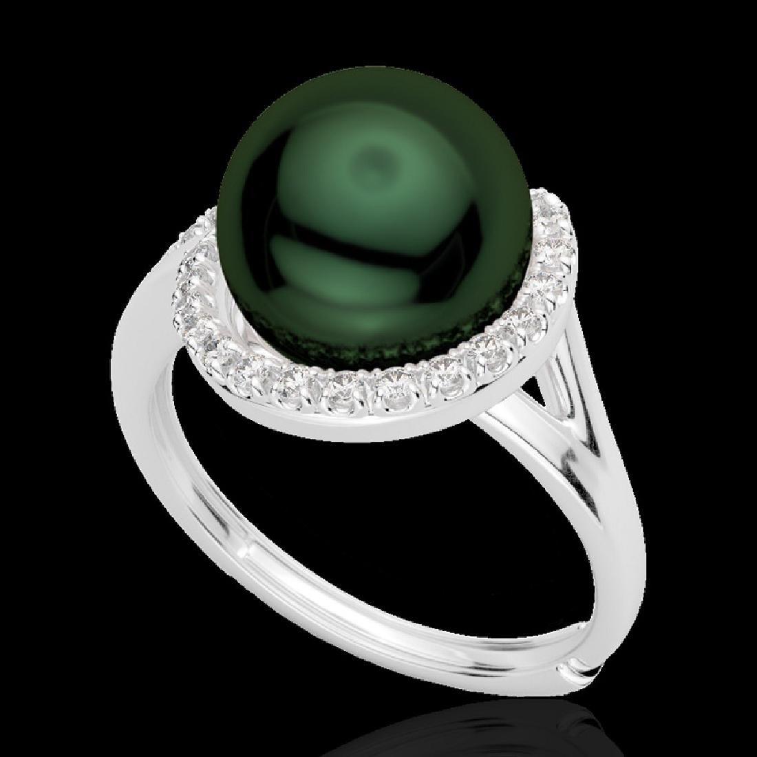 0.27 CTW VS/SI Diamond & Peacock Pearl Designer Ring - 2