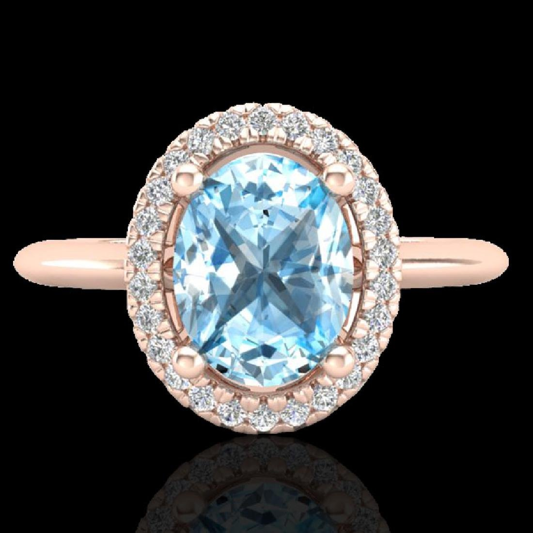 2 CTW Sky Blue Topaz & Micro VS/SI Diamond Ring
