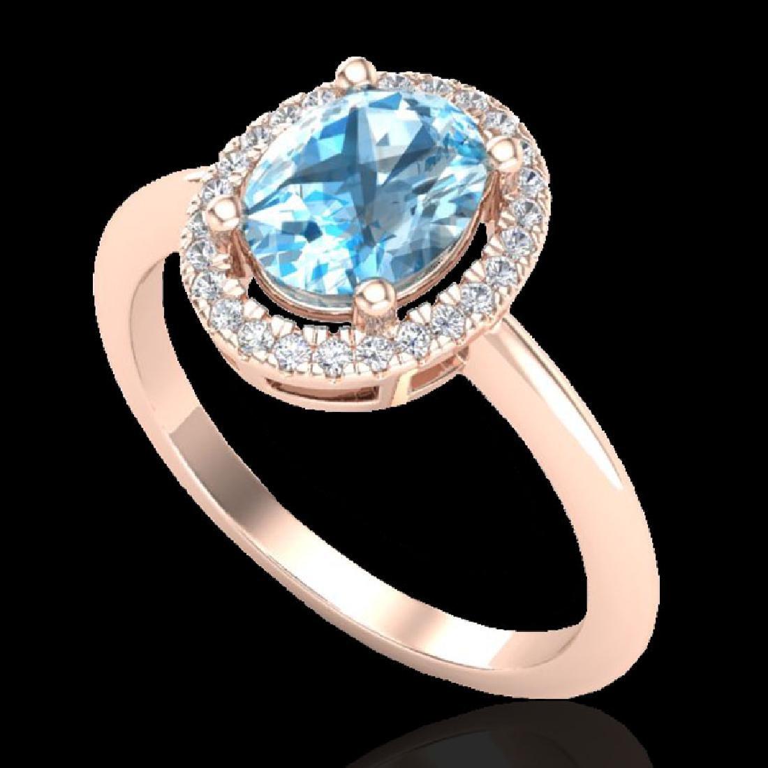 2 CTW Sky Blue Topaz & Micro VS/SI Diamond Ring - 2