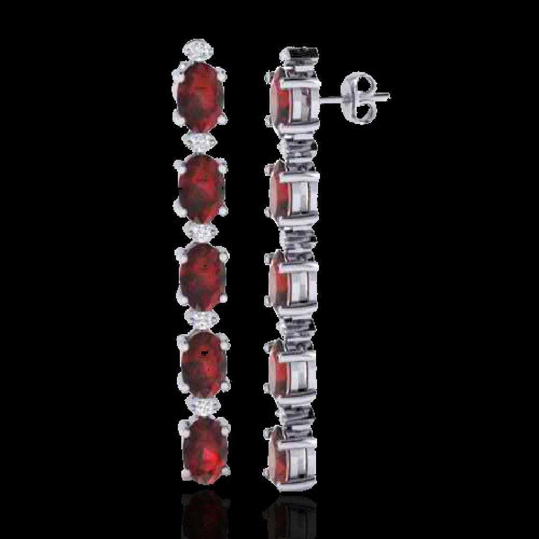 6 CTW Garnet & VS/SI Diamond Tennis Earrings 10K White - 2