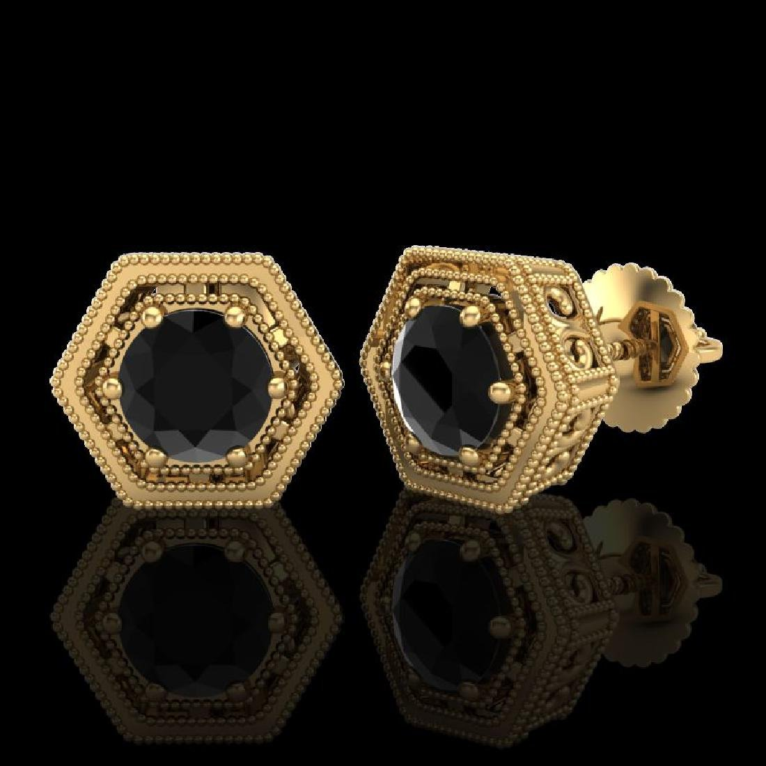 1.07 CTW Fancy Black Diamond Solitaire Art Deco Stud - 2