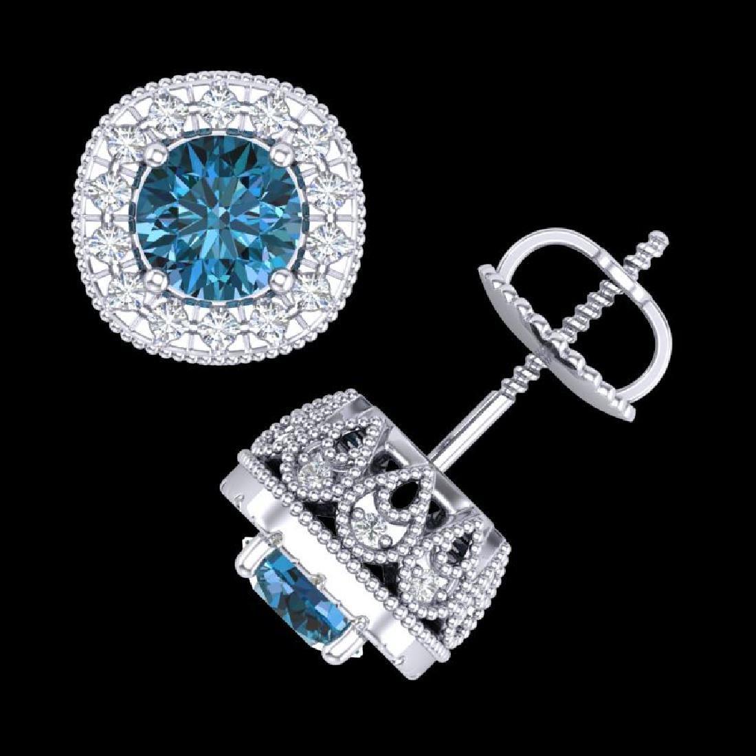 1.69 CTW Fancy Intense Blue Diamond Art Deco Stud - 3