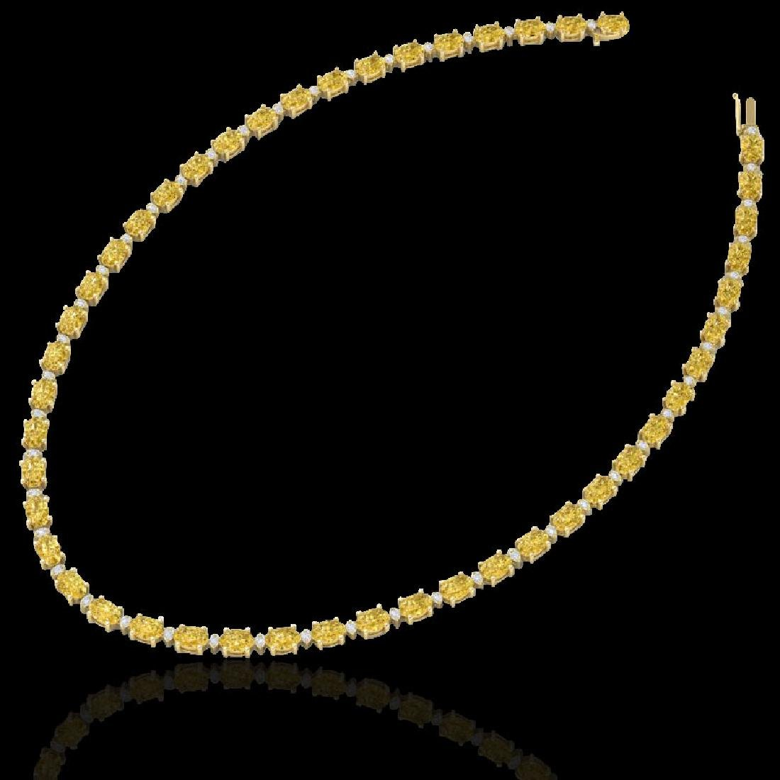28 CTW Citrine & VS/SI Diamond Eternity Tennis Necklace - 2