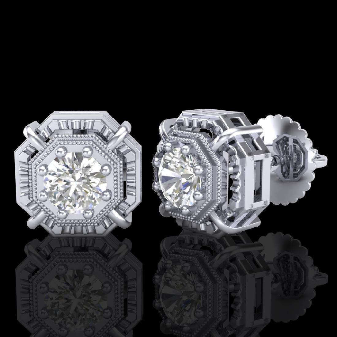 1.11 CTW VS/SI Diamond Solitaire Art Deco Stud Earrings - 2