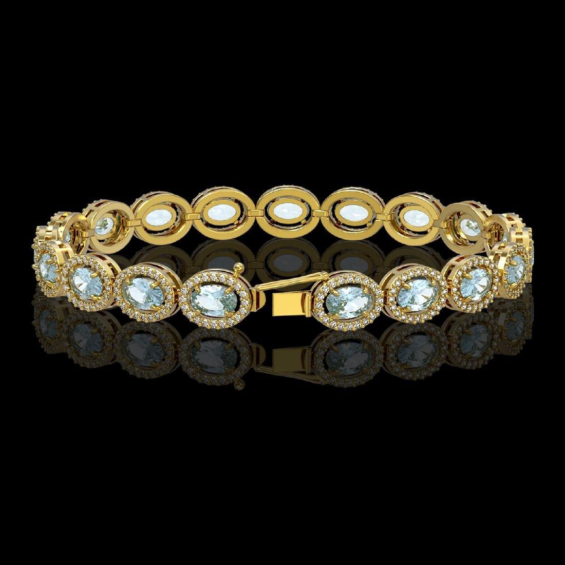 14.82 CTW Sky Topaz & Diamond Halo Bracelet 10K Yellow - 2