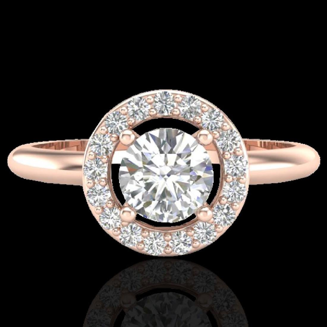 0.70 CTW Micro Pave Halo Solitaire VS/SI Diamond Ring
