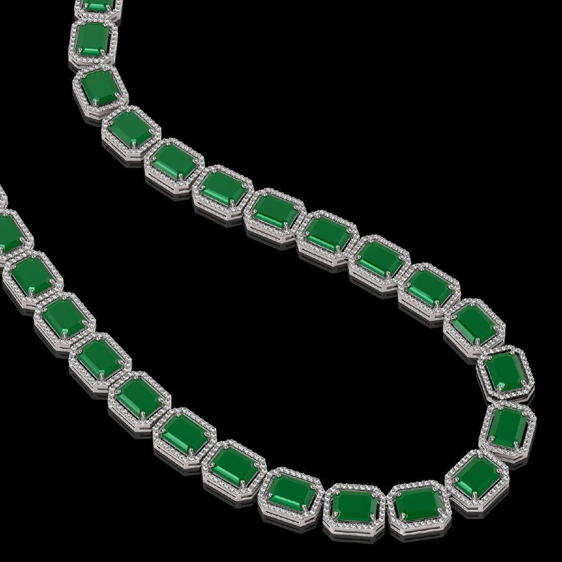 84.94 CTW Emerald & Diamond Halo Necklace 10K White - 2