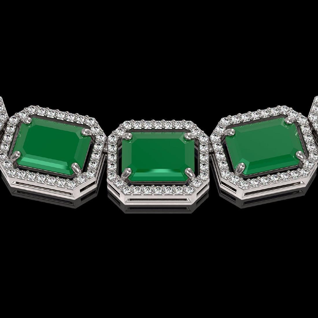 84.94 CTW Emerald & Diamond Halo Necklace 10K White - 3