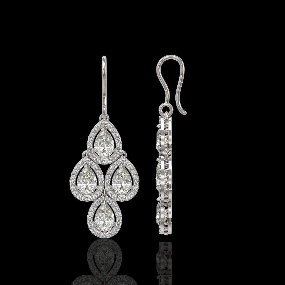 5.22 CTW Pear Diamond Designer Earrings 18K White Gold - 2