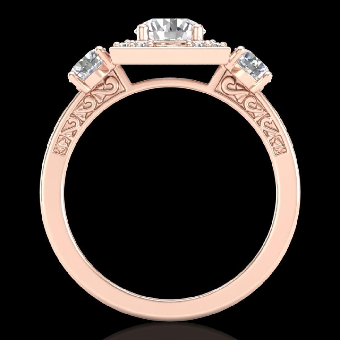1.55 CTW VS/SI Diamond Solitaire Art Deco 3 Stone Ring