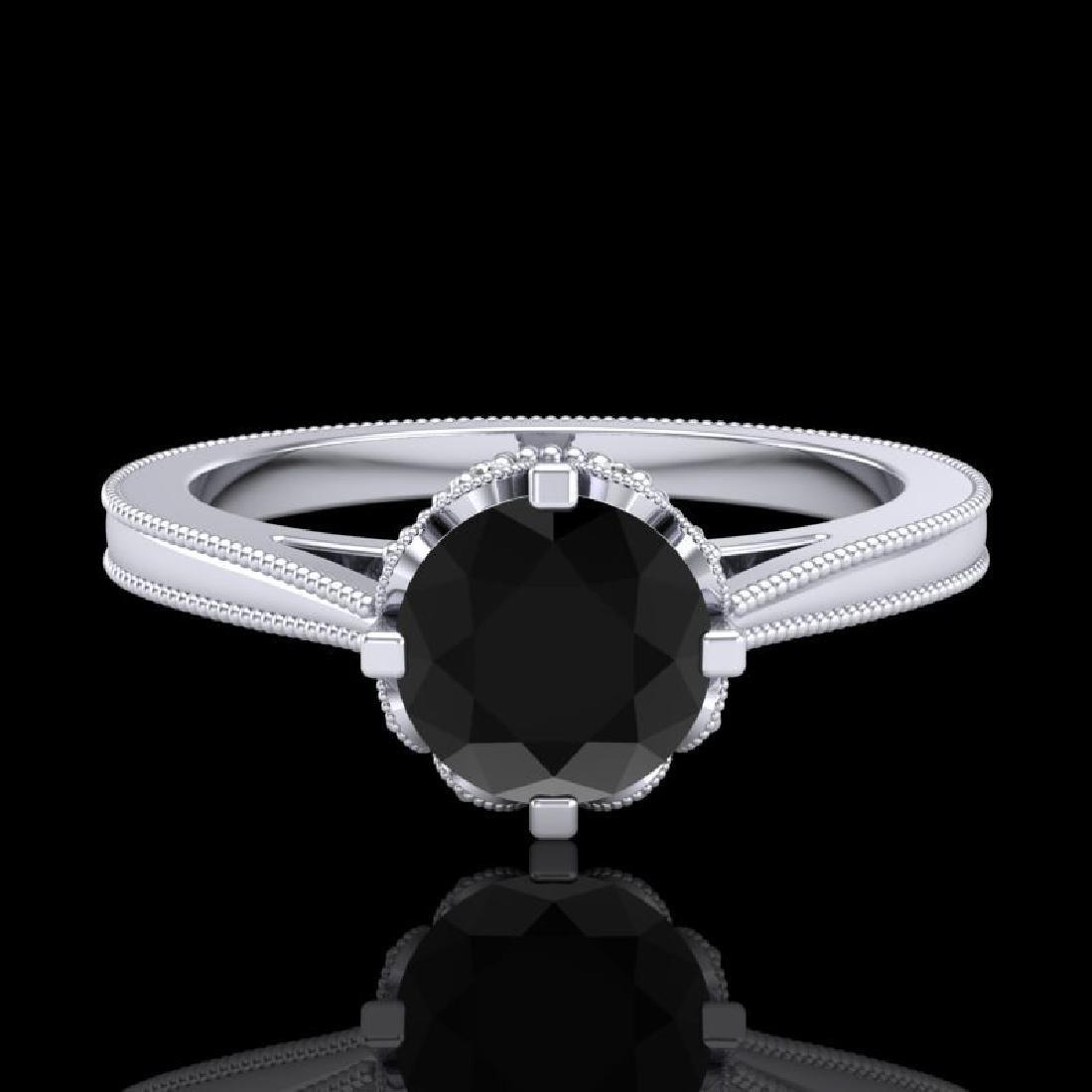 1.14 CTW Fancy Black Diamond Solitaire Engagement Art - 2