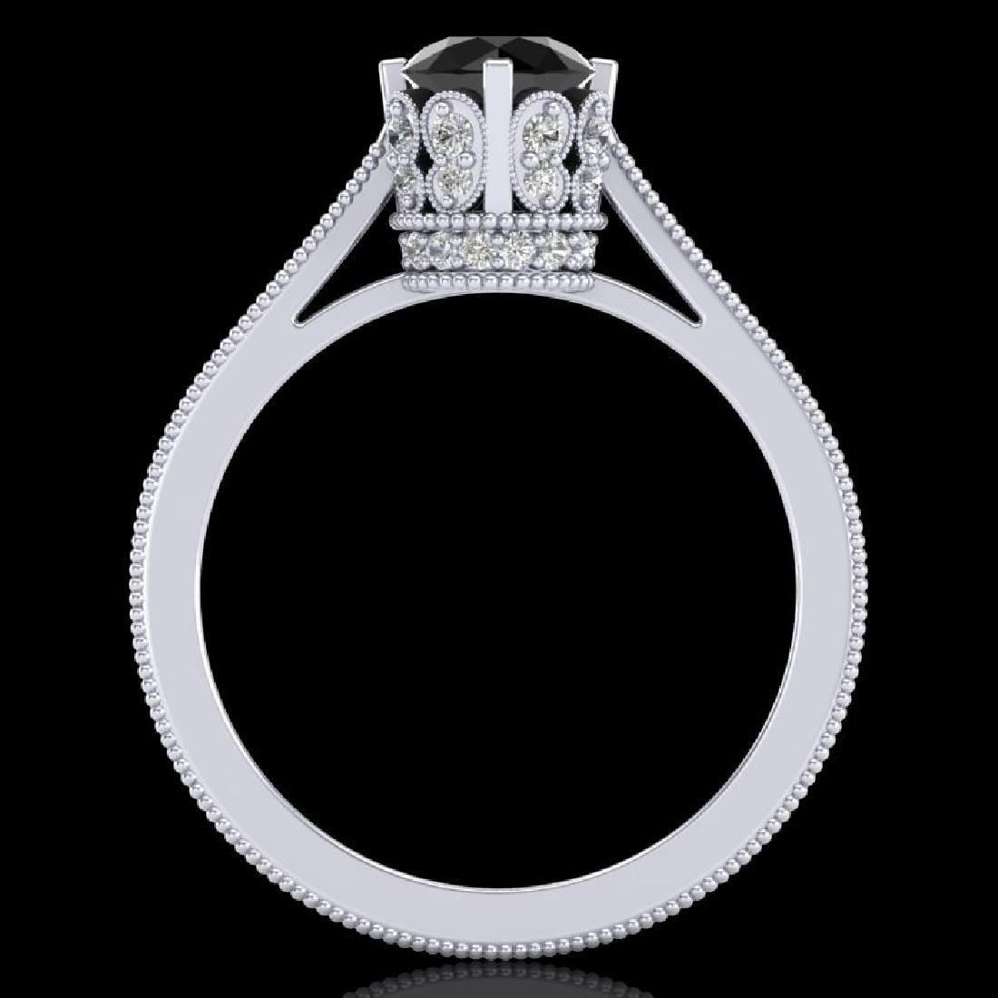 1.14 CTW Fancy Black Diamond Solitaire Engagement Art - 3