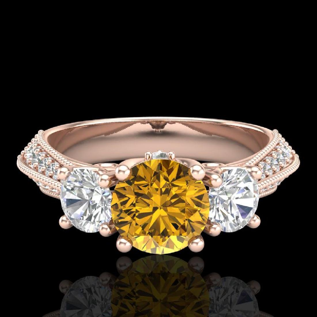 1.81 CTW Intense Fancy Yellow Diamond Art Deco 3 Stone - 2