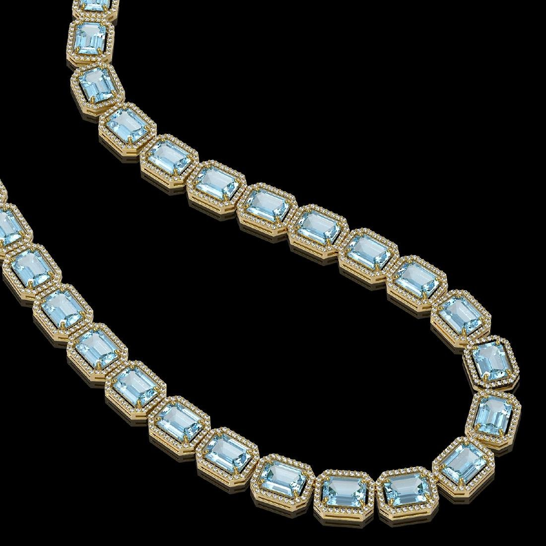 78.34 CTW Sky Topaz & Diamond Halo Necklace 10K Yellow - 2