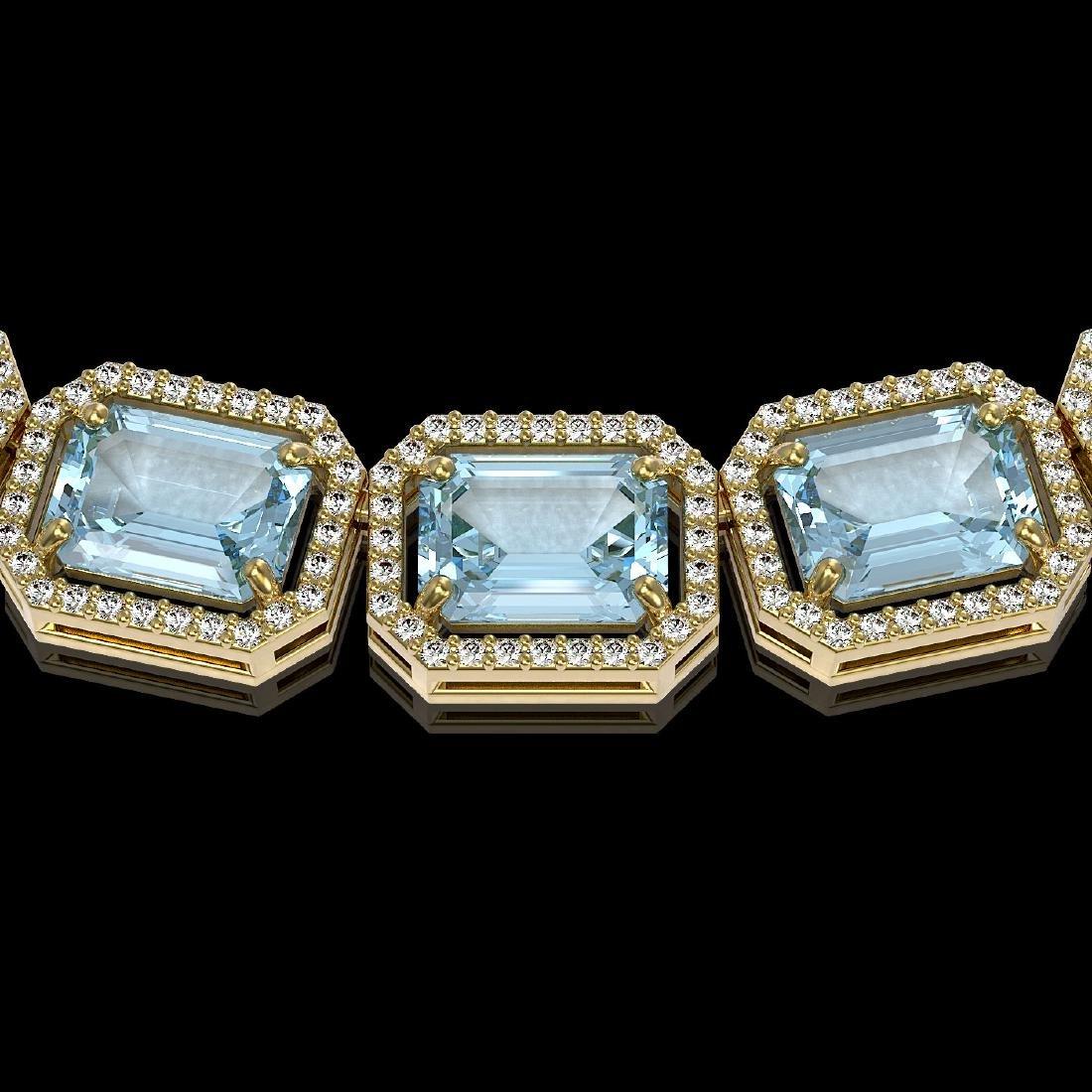 78.34 CTW Sky Topaz & Diamond Halo Necklace 10K Yellow - 3