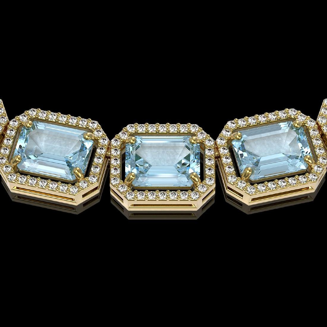 78.34 CTW Sky Topaz & Diamond Halo Necklace 10K Yellow - 3