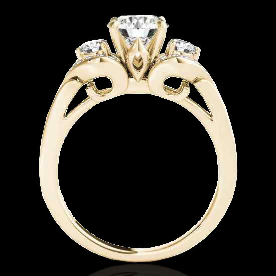 1.7 CTW H-SI/I Certified Diamond 3 Stone Ring 10K - 2