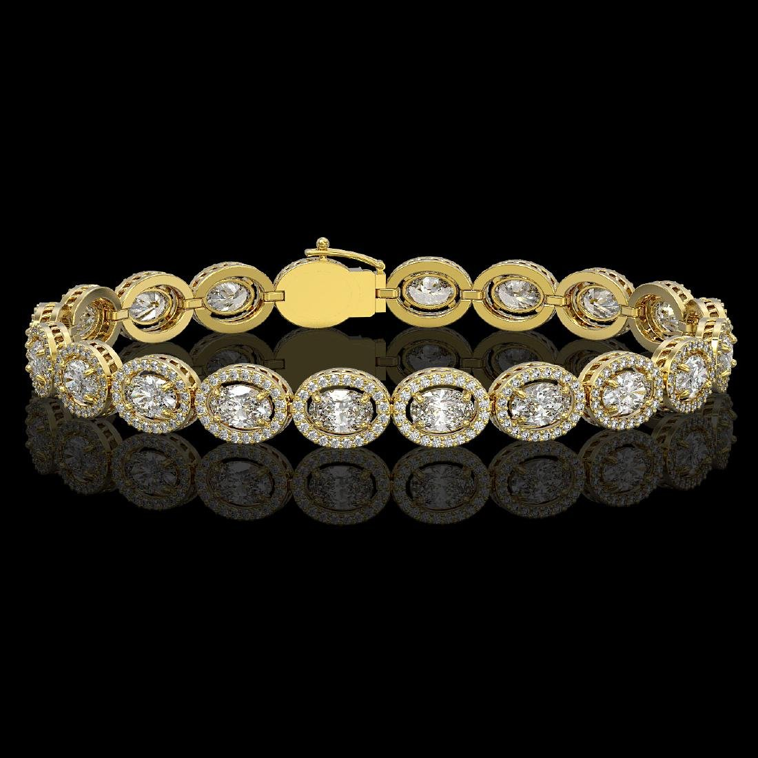 13.25 CTW Oval Diamond Designer Bracelet 18K Yellow