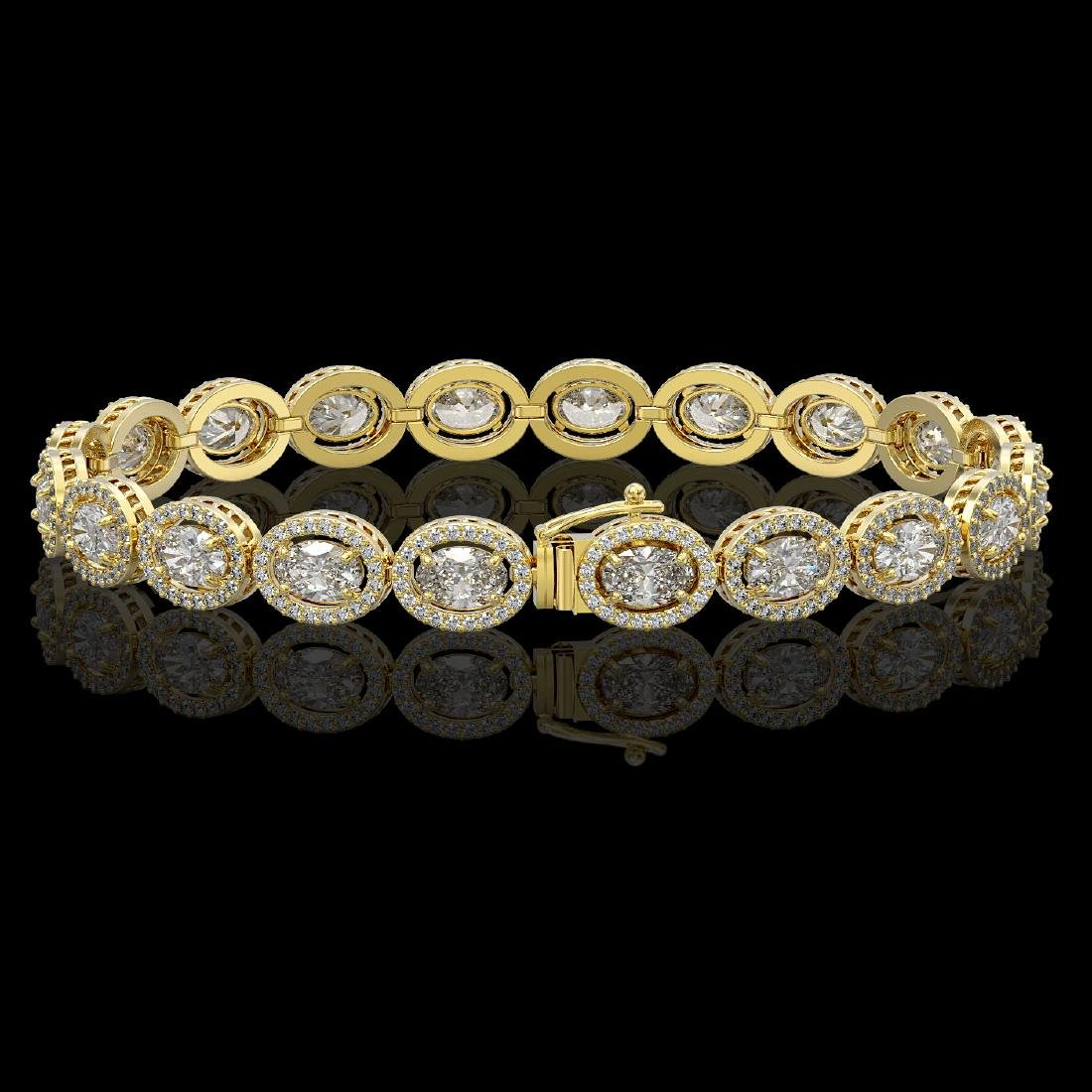 13.25 CTW Oval Diamond Designer Bracelet 18K Yellow - 2