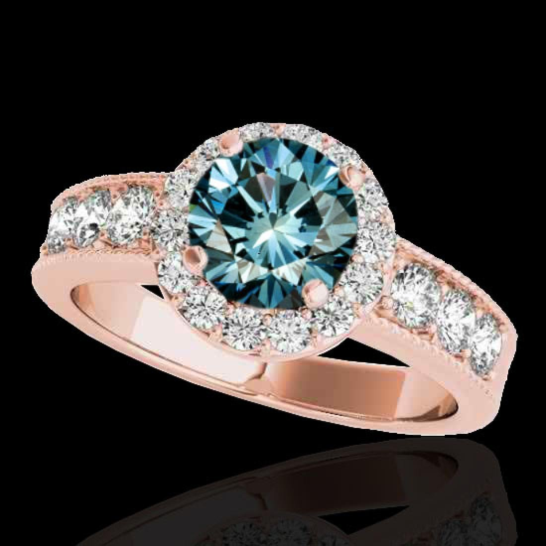 1.85 CTW SI Certified Fancy Blue Diamond Solitaire Halo
