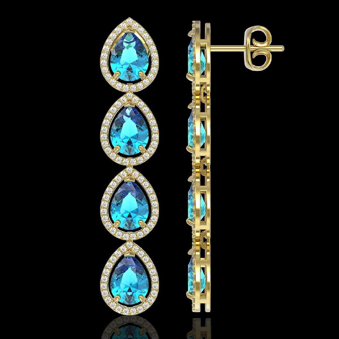 10.8 CTW Swiss Topaz & Diamond Halo Earrings 10K Yellow - 2