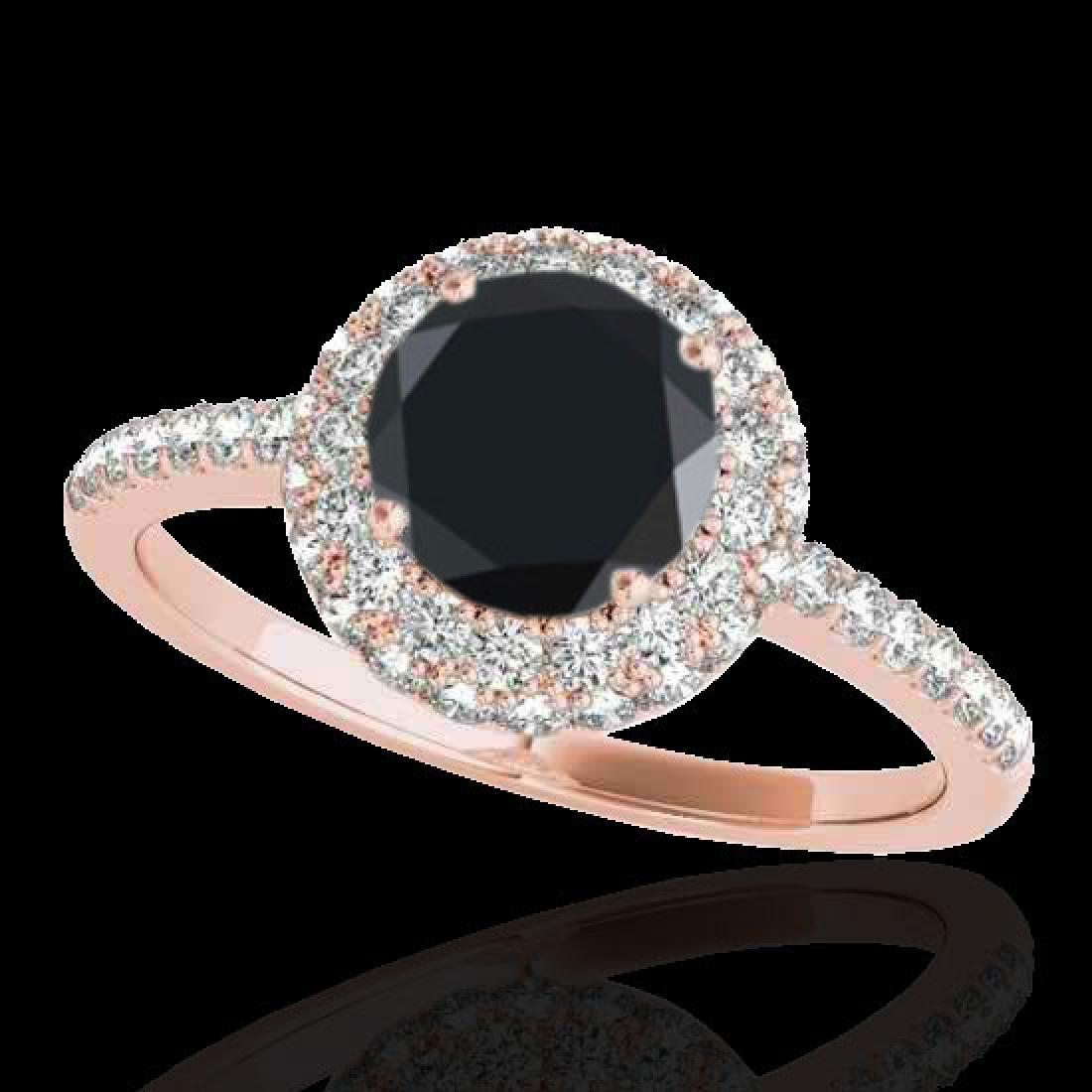 2.15 CTW Certified VS Black Diamond Solitaire Halo Ring