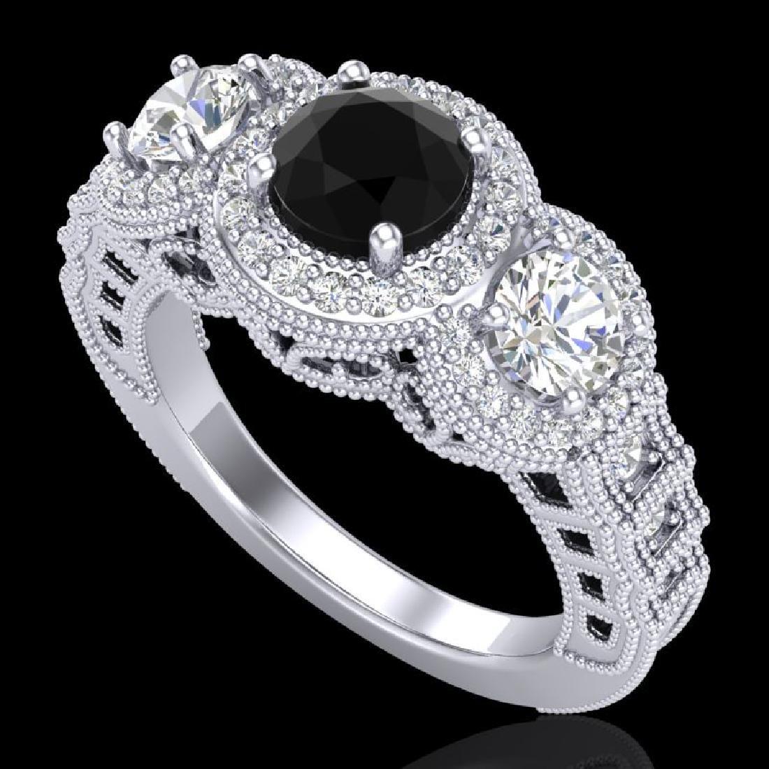 2.16 CTW Fancy Black Diamond Solitaire Art Deco 3 Stone