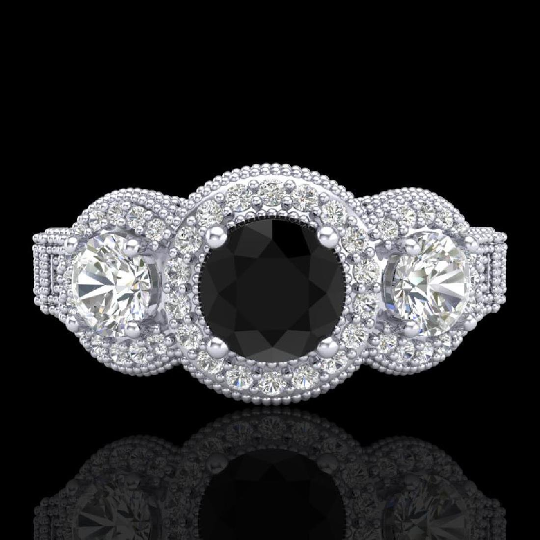 2.16 CTW Fancy Black Diamond Solitaire Art Deco 3 Stone - 2