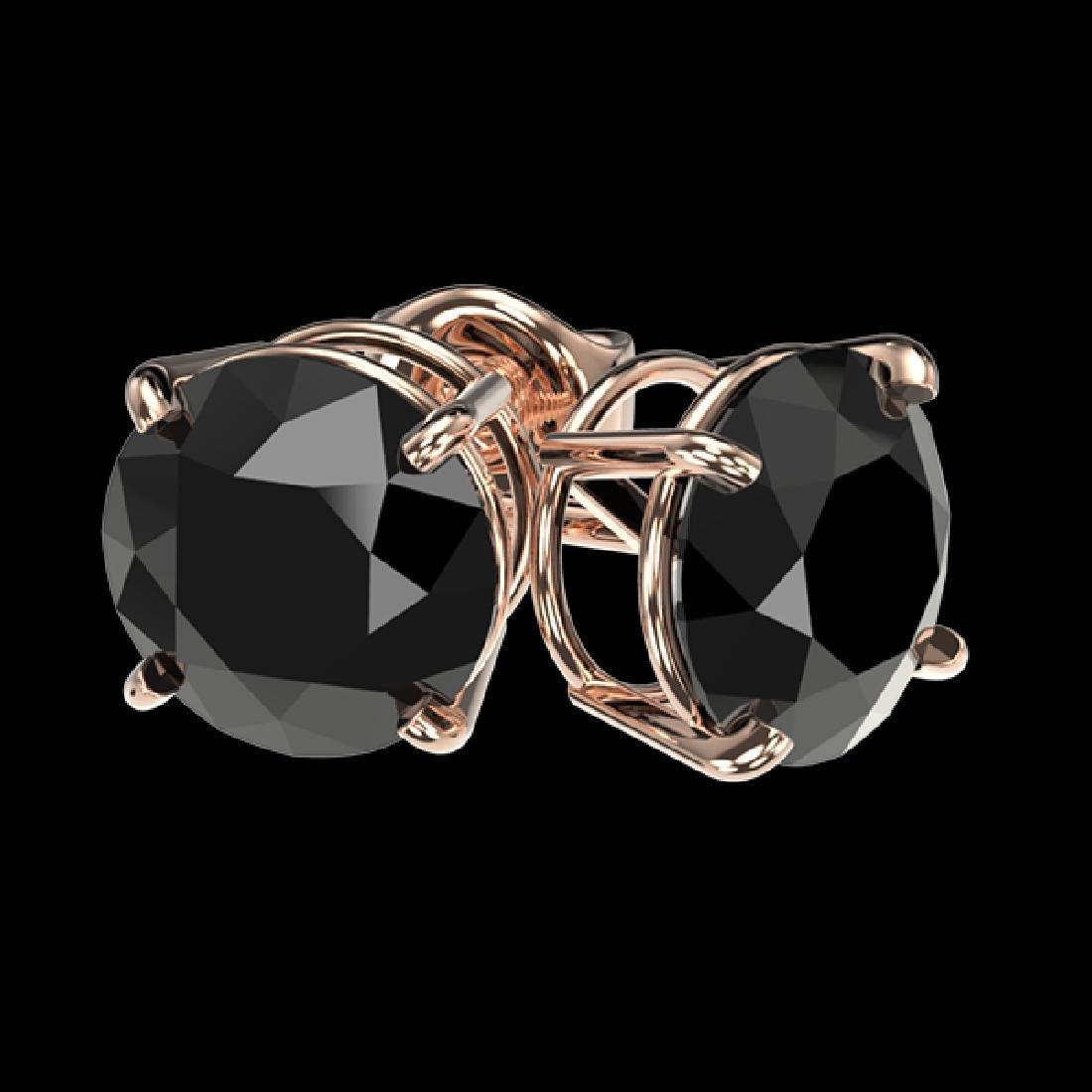 2.09 CTW Fancy Black VS Diamond Solitaire Stud Earrings - 3