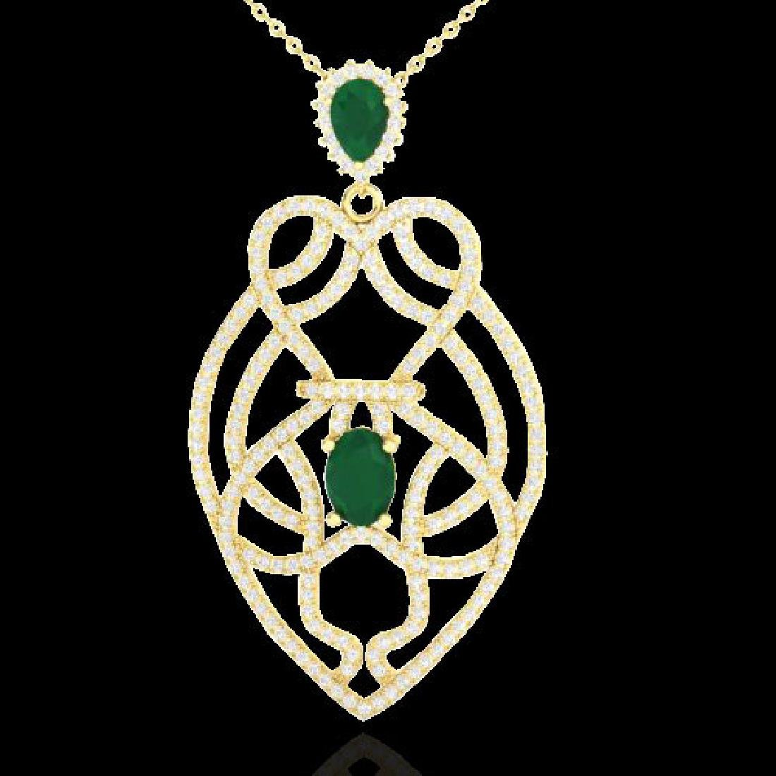 3.50 CTW Emerald & Micro VS/SI Diamond Heart Necklace