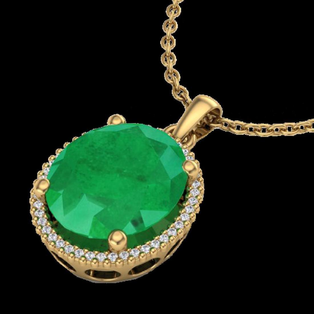 12 CTW Emerald & Micro Pave VS/SI Diamond Halo Necklace - 2