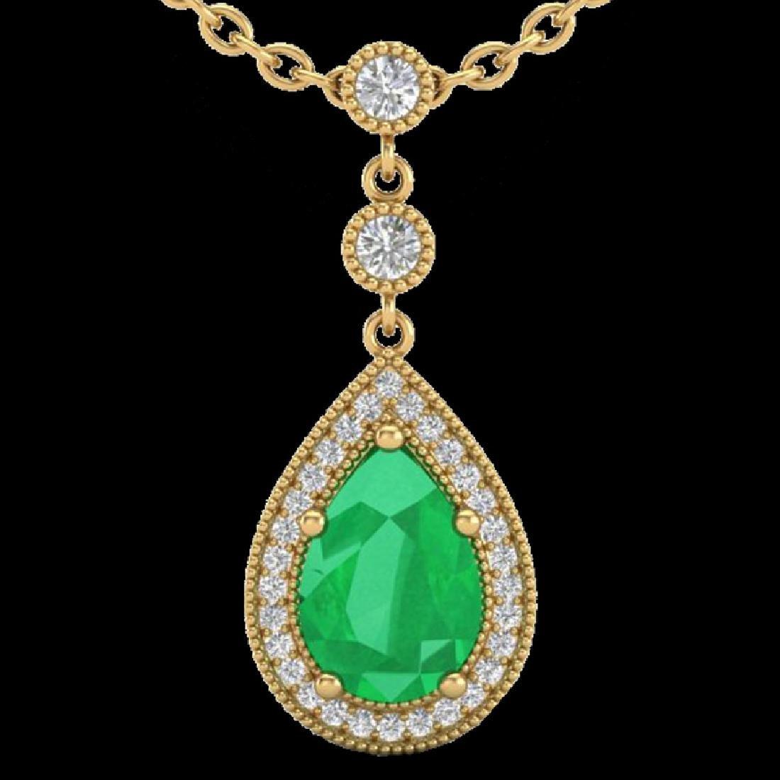 2.75 CTW Emerald & Micro Pave VS/SI Diamond Necklace - 2