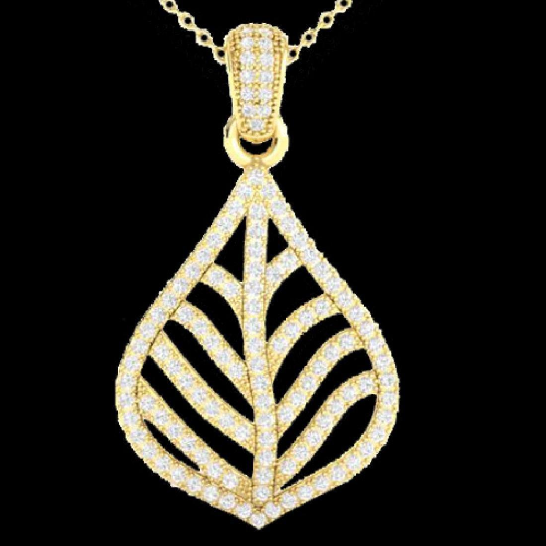 1.25 CTW Micro Pave VS/SI Diamond Necklace Designer 18K