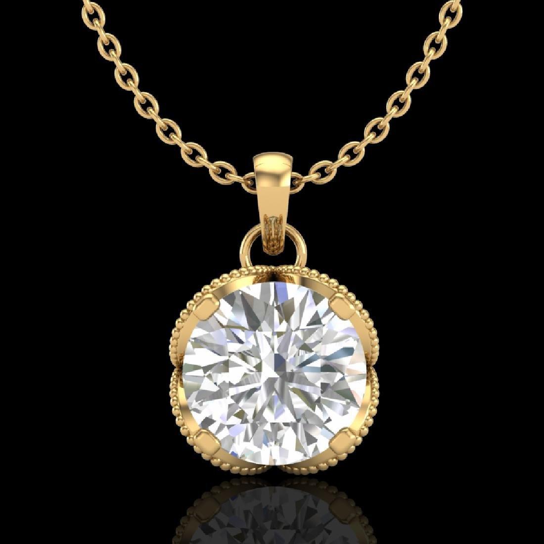 1.13 CTW VS/SI Diamond Solitaire Art Deco Necklace 18K