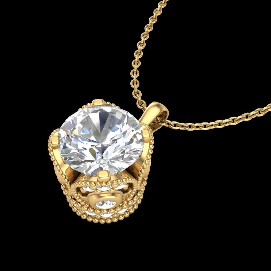 1.13 CTW VS/SI Diamond Solitaire Art Deco Necklace 18K - 2