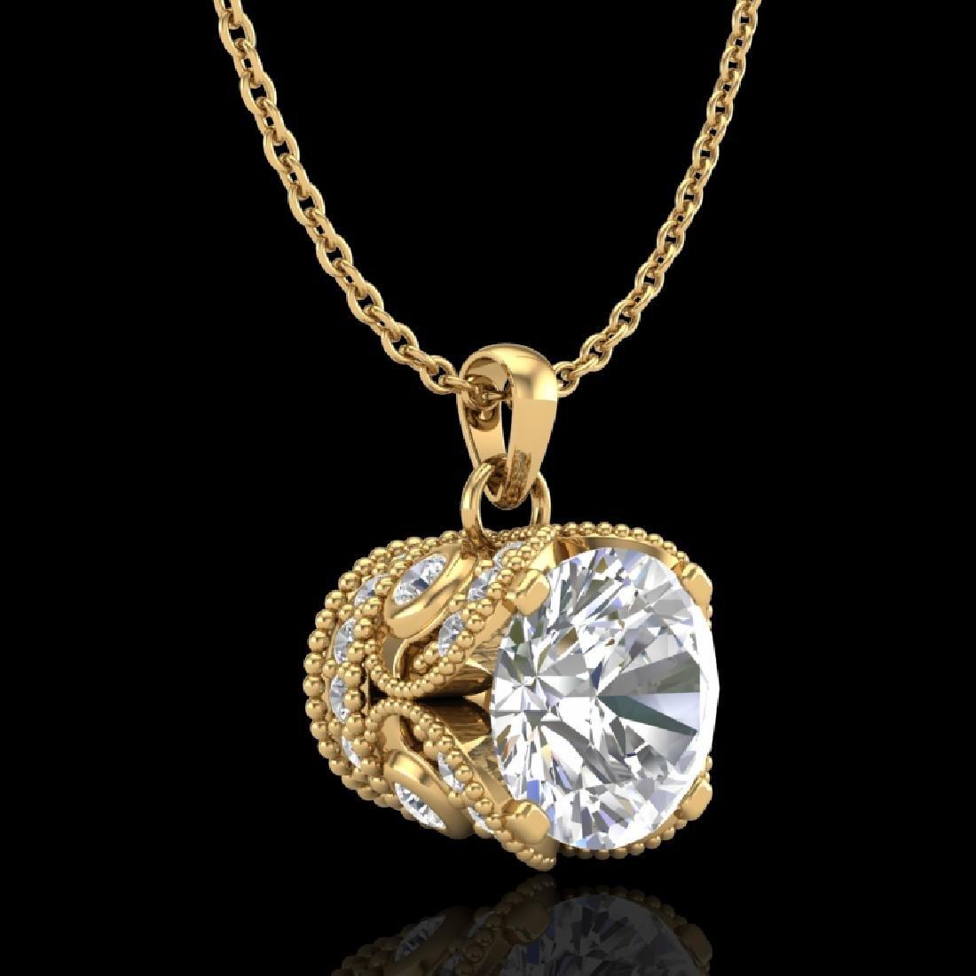 1.13 CTW VS/SI Diamond Solitaire Art Deco Necklace 18K - 3