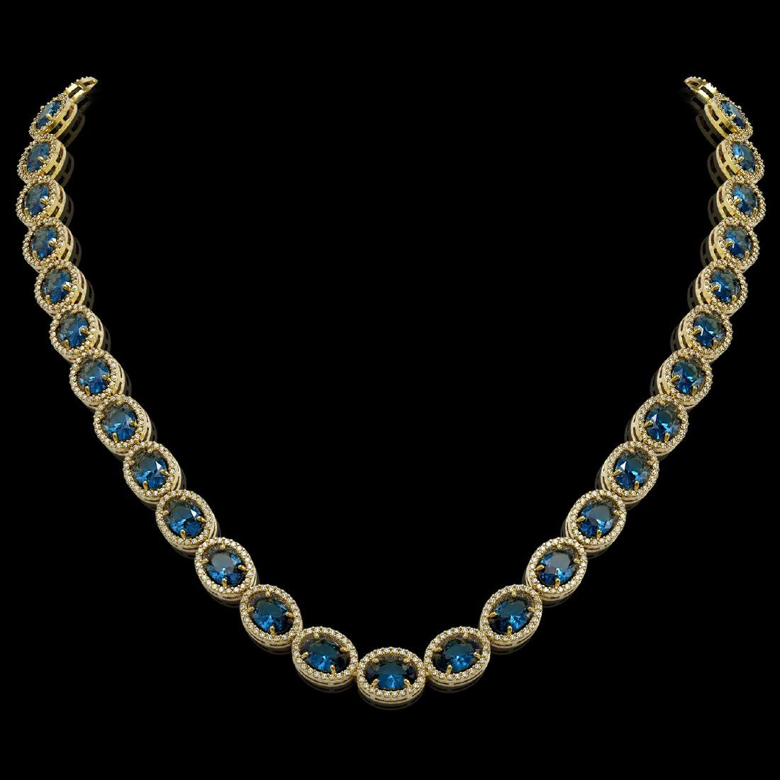 55.41 CTW London Topaz & Diamond Halo Necklace 10K